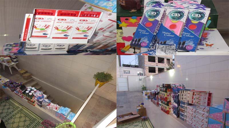 آماده سازی و توزیع لوازم التحریر برای کودکان خانواده های تحت پوشش موسسه راه آسمان