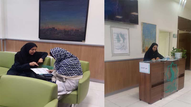 استقرار میز خدمت با حضور خانم پیوندی در مرکز پزشکی هسته ای